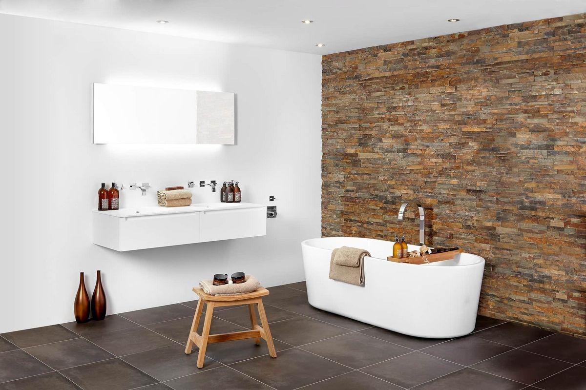 landelijke badkamer vrijstaand bad