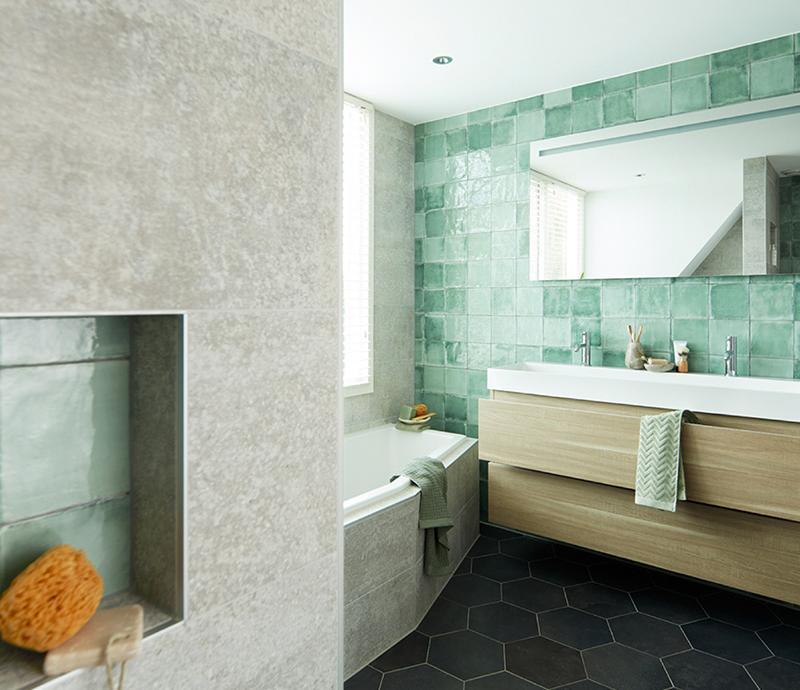 Hexagon tegels in de badkamer