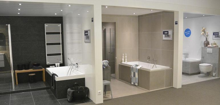 Kleine badkamer inrichten tips - En grijze bad leisteen ...