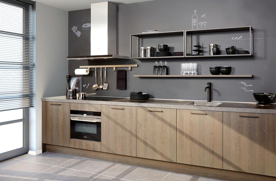 Bruine rechte keuken