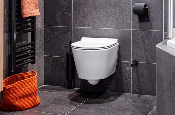 Zwarte badkamer met toilet
